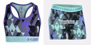 UNDER ARMOUR YOUTH XL~ FITTED SHORTS ~ SPORTS BRA ~ PURPLE BLACK GRAY $50
