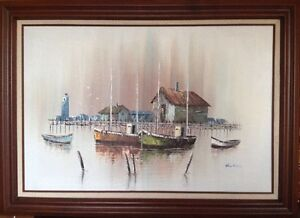 Original Oil On Canvas Boats And Lighthouse Signed Hawkins. Large Framed Piece $300.00