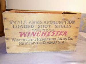 WINCHESTER ~ Small Arms Ammunition ~ LOADED SHOT SHELLS ~ EMPTY Wooden CrateBox