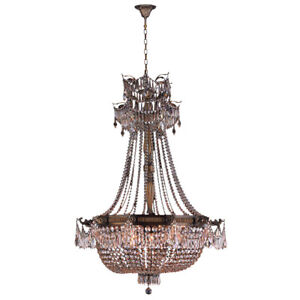 SALE Winchester 12 Light Antique Bronze Crystal French Basket Chandelier 36