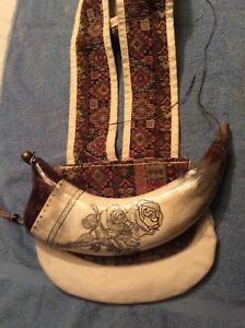 Ladies Powder Horn And Shooting Bag.  Roses  Powder Horn by  George VanDriessche
