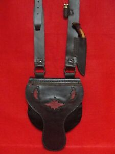 Leather Black Powder Possibles BagHunting Pouch wKnife & Brass Powder Measure