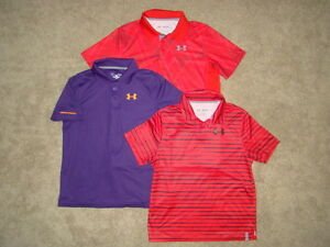 LOT OF 3 UNDER ARMOUR HEATGEAR BOYS SZ.YL-YXL LOOSE DRY WICK POLO GOLF SHIRTS