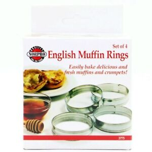 Norpro Set of 4 Tin English Muffin Rings, 3.5 Inch Diameter