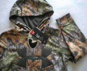 NWT $60 Boy's UNDER ARMOUR Storm 1 HUNTING Mossy Oak CAMO HOODIE Loose SMALL