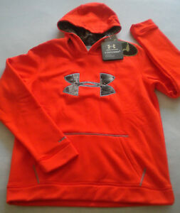 NWT $55 Boy's UNDER ARMOUR Storm 1 HUNTING Mossy Oak CAMO HOODIE Loose XL