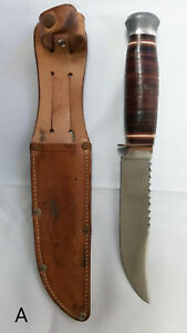 Vintage Omega Bowie Hunting Knife Saw Back Carbon Steel with Sheath Survival