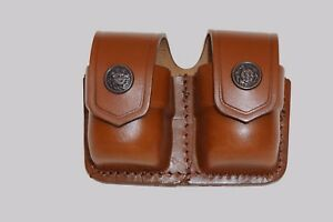 K038-MG Leather Double Speed loader Pouch 357 Magnum 6&7 shots 44 Magnum 5 shot