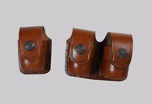 K3738-357 Single&Double Leather Speedloader CasePouch S&W 357 Magnum Handmade!