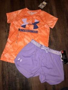 Under Armour Youth Medium Girls Short Outfit Purple Peach NEW
