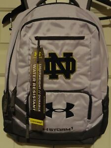 Brand new! UNDER ARMOUR UA NOTRE DAME STORM 1 HUSTLE Water Resist BACKPACK White