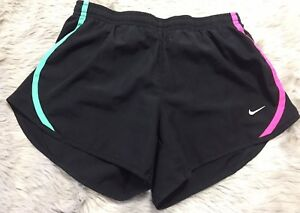 Girls Nike Dry-fit Tempo Black Striped Built In Underwear Athletic Shorts-M