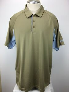 Under Armour Heat Gear GoldBaby Blue Dry-Fit Polo Shirt Men's 2XL XXL