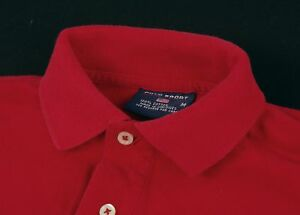 Vintage POLO SPORT RALPH LAUREN Spell-Out Cherry Red Cotton Flag Polo Shirt M