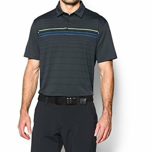 $75 Under Armour Men's coldblack Engineered Stripe Polo Stealth