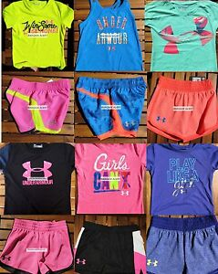 GIRLS SIZE 4 * UNDER ARMOUR * SHORTS * T-SHIRTS * HUGE LOT UNDER 12pc ~ $216 NEW