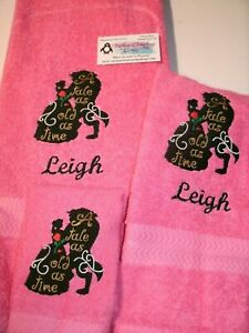 Beauty & The Beast A Tale as old as Time Personalized 3 Piece Bath Towel Set