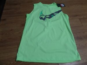 bnwt-boys  sleeveless nike dri fit  shirt size large-more of a yellow
