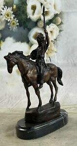 Bronze Remington Native American Mohican Horse with Spear Sculpture StatueDecor $239.40