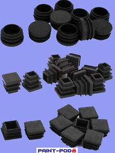 Plastic Square ROUND Table Chair Leg Feet Tube Pipe End Inserts Caps Bung Choose GBP 6.49