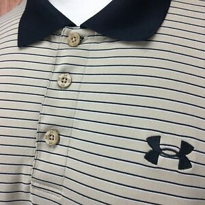 Under Armour Men's sz. Large L Dry Fit Polo Shirt BrownBeige & Black Striped