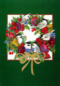 Birds and Fruit Wreath Box of 14 Ronda Adams Embossed Foil Christmas Cards $13.99