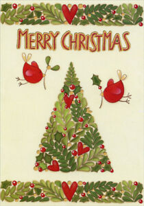 Small Red Birds Box of 14 Maria Garbagnati Embossed Foil Christmas Cards $12.99