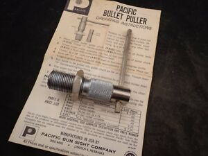 PACIFIC GUN SIGHT CO. RELOADING BULLET PULLER DIE TOOL W SIZE 2 COLLET 25 270