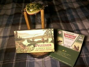 PFLUEGER KENT FROG WOOD FISHING LURE w BOX & RUSTIC DISPLAY STAND for ROD REEL