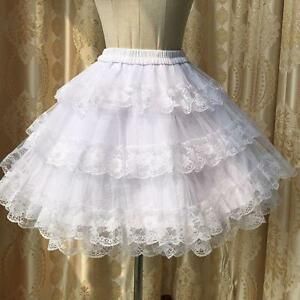 Women's Fashion Vintage Lace Organze Veil Pleated Palace Under Skirt 1pc