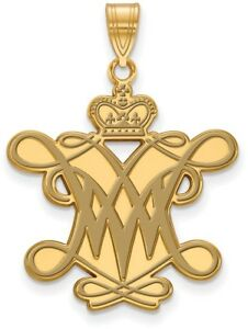 Gold Plated Sterling Silver William amp; Mary XL Enamel Pendant by LogoArt