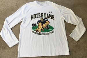 USED UNDER ARMOUR NOTRE DAME FOOTBALL TEAM ISSUED XXL 2XL PULLOVER SHIRT