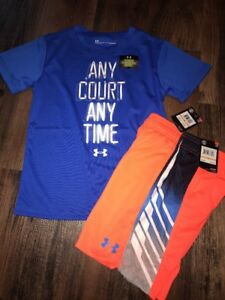 Under Armour Boys Size 7 Any Court Any Time Outfit Shorts Shirt Orange Blue New