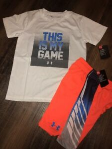 Under Armour Size 7 Boys Outfit Shirt Shorts Orange Blue New This Is My Game