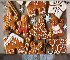 Gingerbread Man Curtains Cookies Snow Window Drapes 2 Panel Set 108x96 Inches