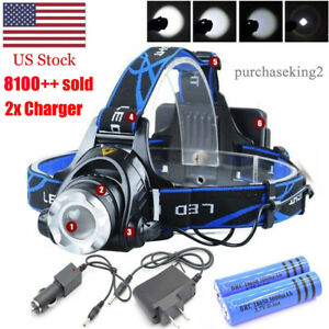 480000LM Rechargeable Head light LED Tactical Headlamp Zoomable+2x Charger+18650