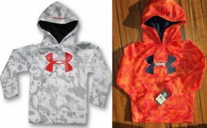 UNDER ARMOUR BOYS YOUTH SIZE 6 ~ 2 HOODIE SWEATSHIRTS ~ $86 ~ ORANGE GRAY CAMO