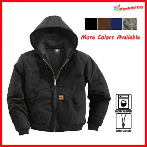 Men Sandstone Canvas Quilted Thermal Lined Active Industrial Winter Duck Jacket $46.88