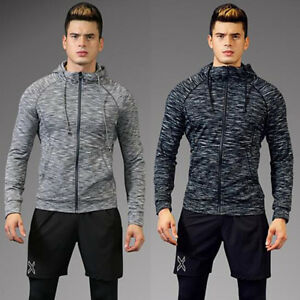 Outdoor Mens Quick Dry Hoodie coat tops Casual Gym Fitness Sweater shirt jacket