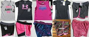 UNDER ARMOUR GIRLS SIZE 6 ~ SHORTS ~ TOPS ~ 9PC ~ NWT ~ BLACK PINK GRAY $200