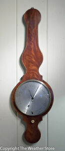 Antique English Round Top Wheel Barometer by Pensa