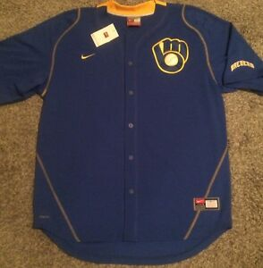 Nike Fit Dry Milwaukee Brewers On-Field Retro Logo MLB Baseball Jersey top men
