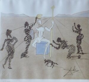 SALVADOR DALI Golden Helmet of Madrino DON QUIXOTE SIGNED HAND NUMBERED ETCHING