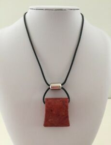 Silpada Coral Nuggetblack leather necklace approx 17