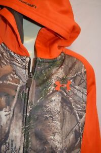 Under Armour Boys Hoodie Sweatshirt Orange Camo Hunting RealTree size 6 - $49