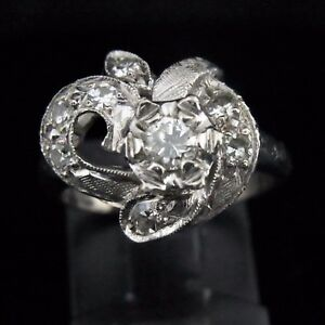 Mid Century Transition Cut Diamond 14k White Gold Cocktail Ring Estate Vintage