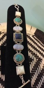 QVC TurquoisemoplapischalcedonySterling Silver Toggle Bracelet GORGEOUS $140.00