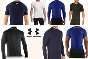 lot of 7 UNDER ARMOUR compression fit baselayer shirts thermal quick dry mens LG