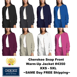 Cherokee Nurses Scrub Workwear Snap Front Jacket Style 4350 **FREE SHIP** NEW