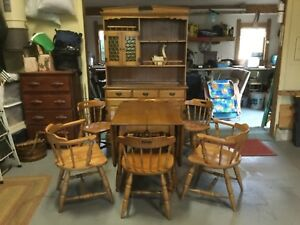 Furniture Dining Room Set drop leaf table server hutch glass doors six chairs